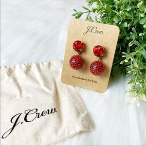 J. Crew | Disco Ball Statement Earrings Ruby Red